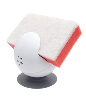 Get a Grip Sponge and Scrubber Holder: Keep your daily sponge from soaking in its own suds with this suction-based, globe-like contraption. Whether it's attached to the counter or the sink wall, its holey bottom allows excess liquid to drain out.