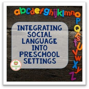 For preschool teachers and SLPS this is a great guest post on how to integrate social language into the preschool setting. There are some great resources of videos and websites to implement in the classroom. Great for working with students with autism as