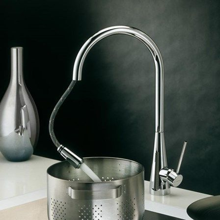 One of the latest creations in pull out kitchen taps, known for its feminine shape and its gently tapering base
