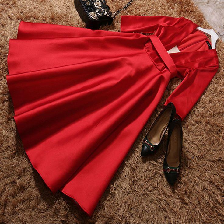 2017 новая мода европа и соединенные штаты онлайн тонкая талия v воротник середины икры длина 3/4 рукав большие качели dressкупить в магазине Angel & DevilнаAliExpress