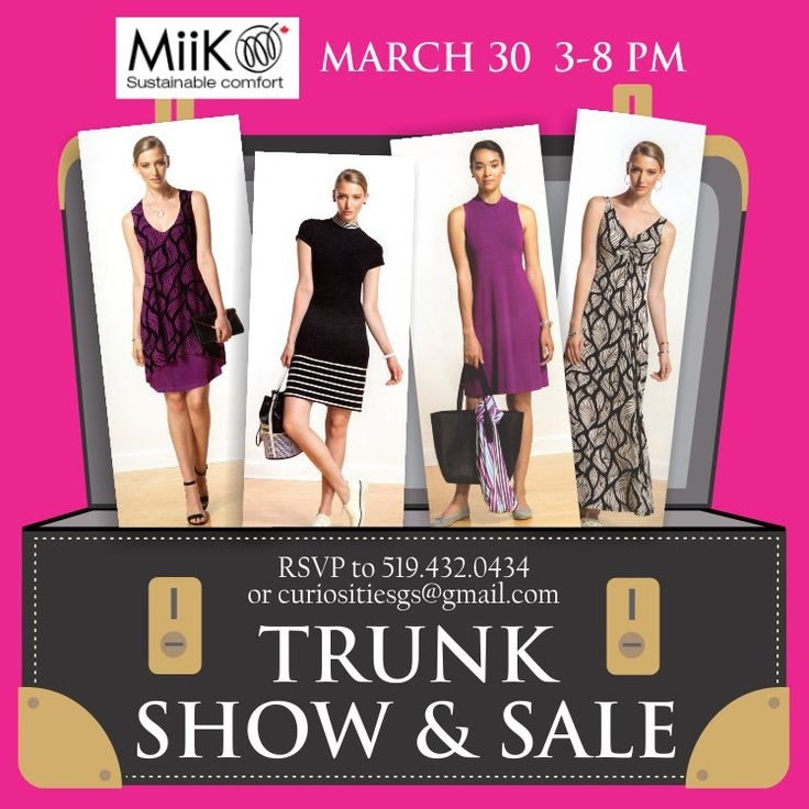 Looking for an afternoon/evening of fun and fashion with your female friends, relatives, and colleagues?   Attend the Miik Trunk Show & Sale on March 30 from 3 to 8pm to see Miik's spring/summer line of ethical, eco-friendly garments designed and made in Toronto.  Fashion Consultants from Sally Adams Agency representing the Miik Line will be on site to answer questions and help you choose your best look!  RSVP by March 27, 2017 via walk-in, phone, email, or on the website.