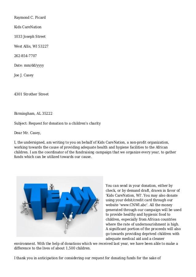 Más de 25 ideas increíbles sobre Donation letter template en Pinterest - donation letter example