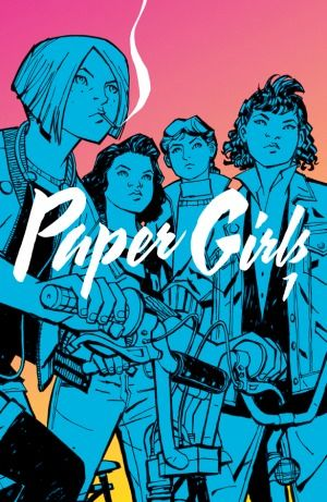 """""""Paper girls: volume 1"""", by Brian K. Vaughan & Cliff Chiang & Matt Wilson & Jared K. Fletcher - In the early hours after Halloween on 1988, four 12-year-old newspaper delivery girls uncover the most important story of all time. Suburban drama and supernatural mysteries collide in this series about nostalgia, first jobs, and the last days of childhood."""