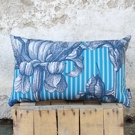"""""""Love blooms here"""" You'll love this pillow with floral print pattern. The monochrome faded engraving flowers prevail the front side in contrast to the repetitive stripes in teal background. You just can't miss it!"""