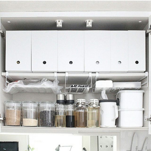 Macaroniさんの、キッチン収納,調味料,山崎実業,無印のファイルボックス,無印良品,収納,吊戸棚,キッチン,のお部屋写真