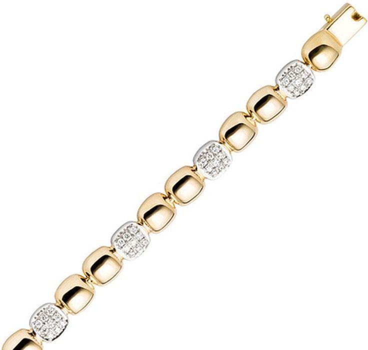 NEU 6 mm Diamanten Armband Gelbgold 585 echt Gold 19 cm 14 Karat Armkette 0,75ct