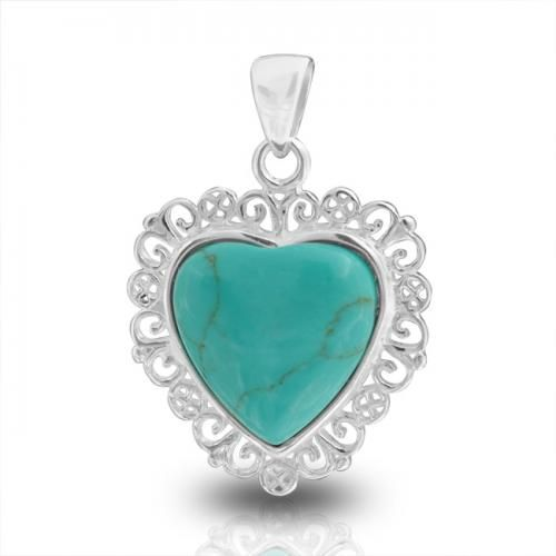 925 Sterling Silver Filigree Gemstone Turquoise Heart Pendant