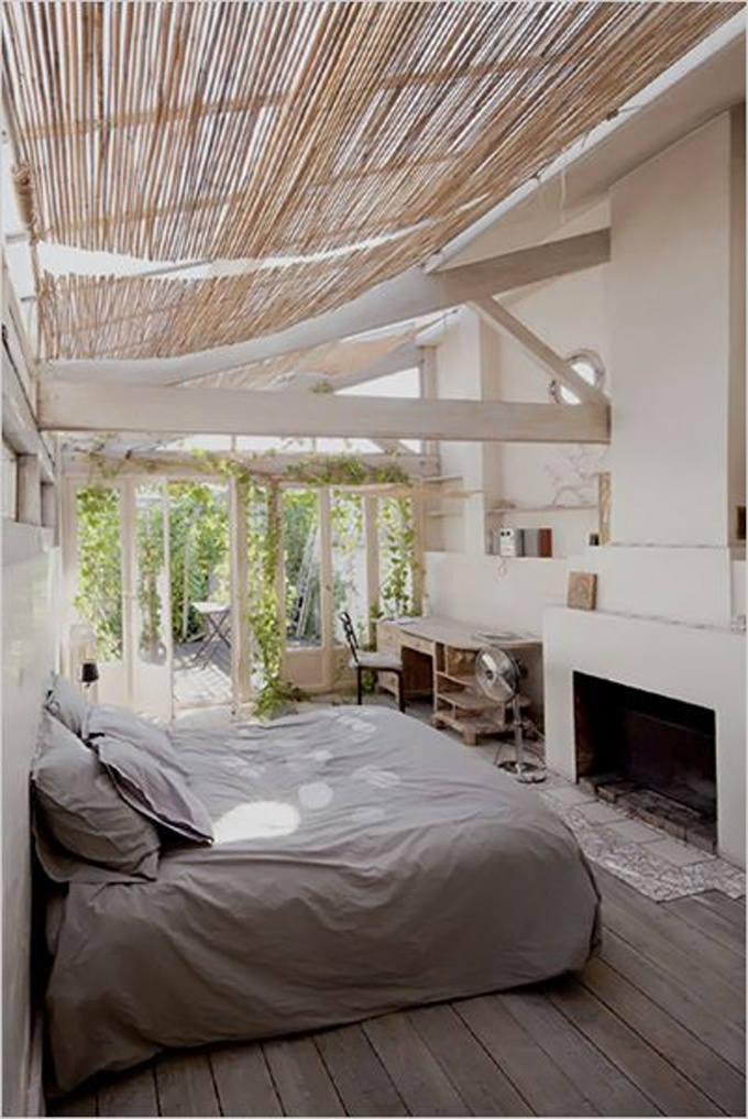 indoor / outdoor bedroom porch. Love the fireplace on a porch idea