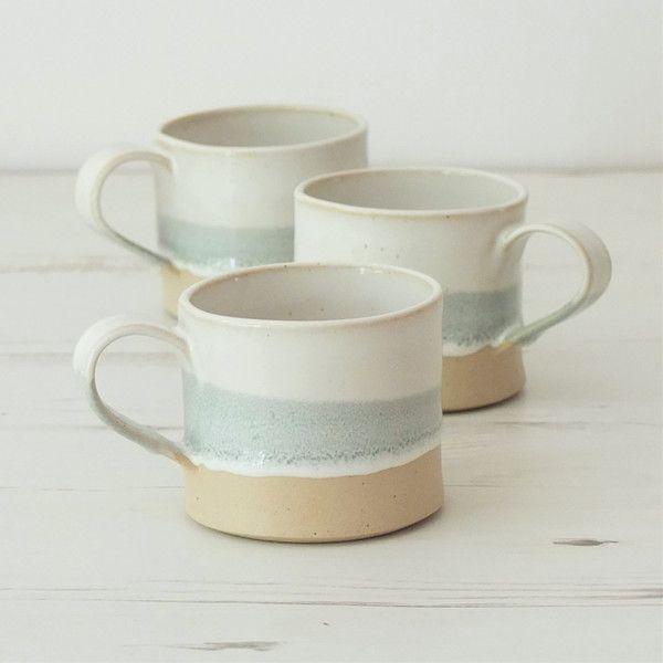 Made to order handmade ceramic mug, pottery mug, grey and white glaze,... ($13) ❤ liked on Polyvore featuring home, kitchen & dining, drinkware, hand made mug, pottery coffee mugs, coffee tea mugs, glazed coffee mugs and tea mug