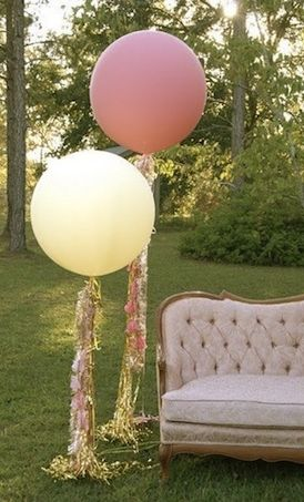 BUY or DIY Geronimo Style Big Round Balloons With Streamers — Loverly Weddings