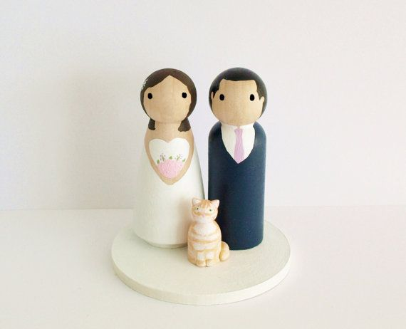 Custom Wedding Cake Topper with Pet s  Bride by BlossomCakeToppers
