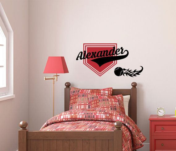 Baseball Personalized Name Wall Decal