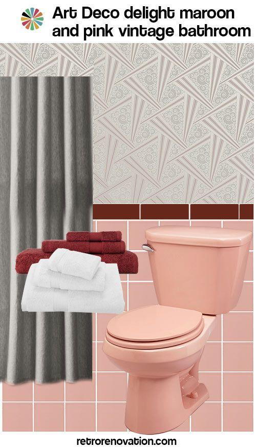 vintage pink and maroon bathroom design ideas #retro #artdeco #midcentury