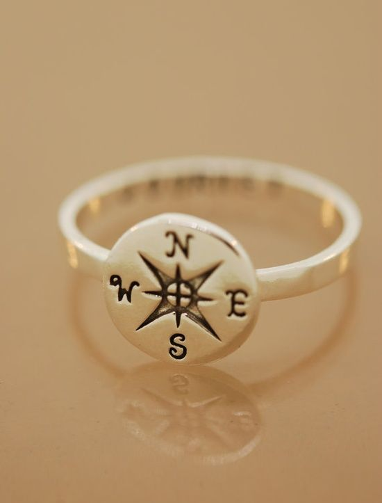 Compass Ring Custom by TeriLeeJewelry on Etsy A sterling silver compass ring is hand stamped with the word journey inside the band. A perfect gift for the avid traveler or the graduate in your Jewelry, Ring, compass ring, sterling compass, ring compass, custom stamped ring, ring personalized, stamped jewelry, stamped rings, engraved rings, anniversary ring, compass jewelry
