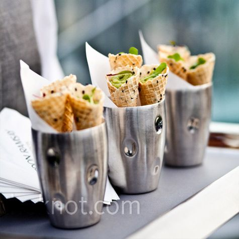 mini waffle cones filled with guacamole