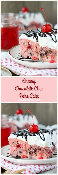 This Cherry Chocolate Chip Poke Cake is a sweet cherry cake with chocolate chips, soaked in sweetened condensed milk and topped with whipped cream and chocolate sauce.