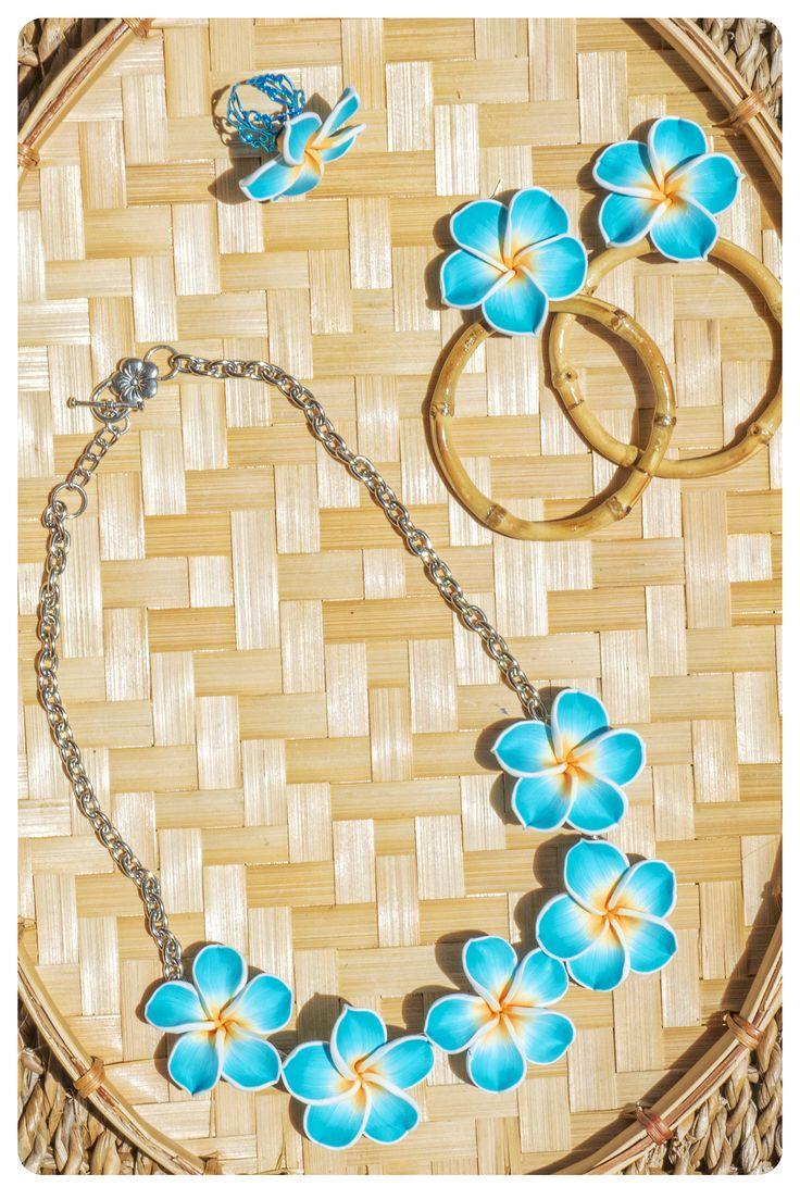 Light blue Plumeria  Bamboo set Plumeria necklace Plumeria bamboo hoops Plumeria large ring