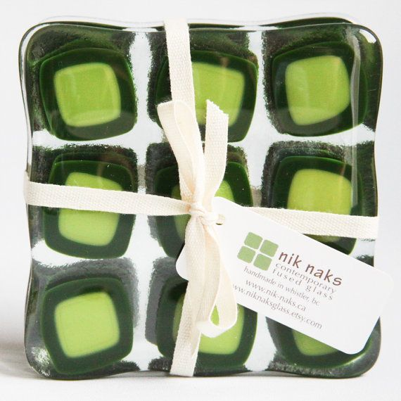 fused glass coasters. lime green glass coasters. by niknaksglass