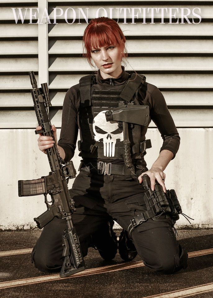Good, support. Cosplay girl with gun variant good