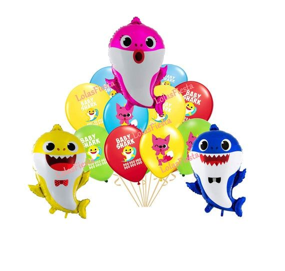 "Baby Shark Balloon Kids Birthday Party Favor 18/"" Foil /& 12/"" Latex Balloons"
