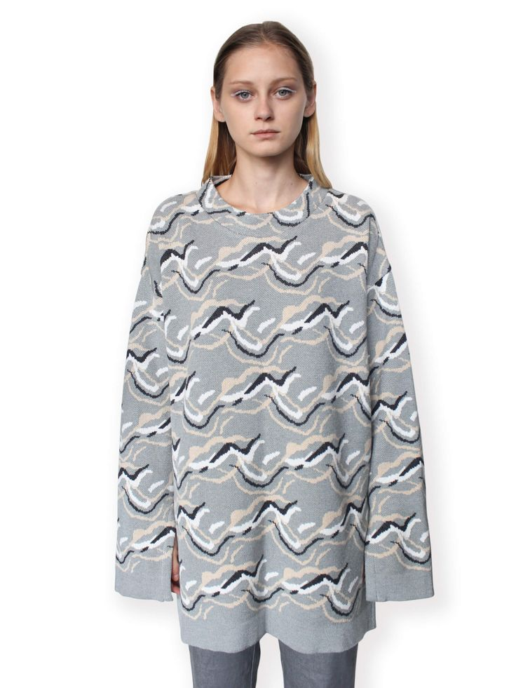 Jacquard Knitted Jumper-Grey