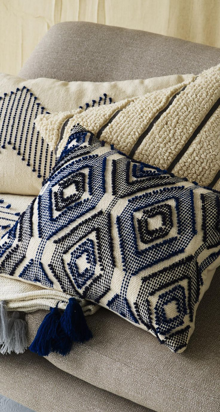 Mixing artisan design with modern prints, refresh your home with this Woven Diamond Cushion.