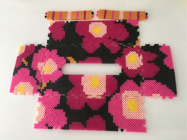Inspired Marimekko tissue box cover perler beads by k-chippy