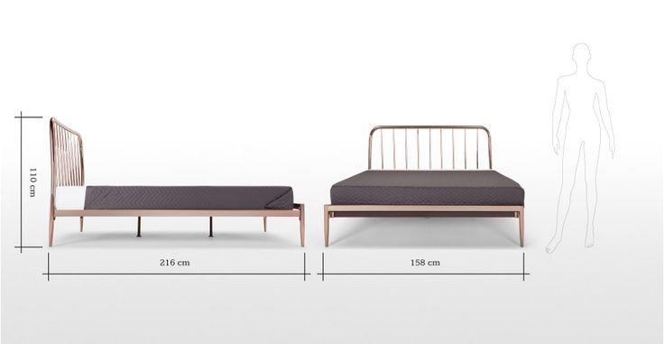Alana, un lit king-size, cuivre | made.com