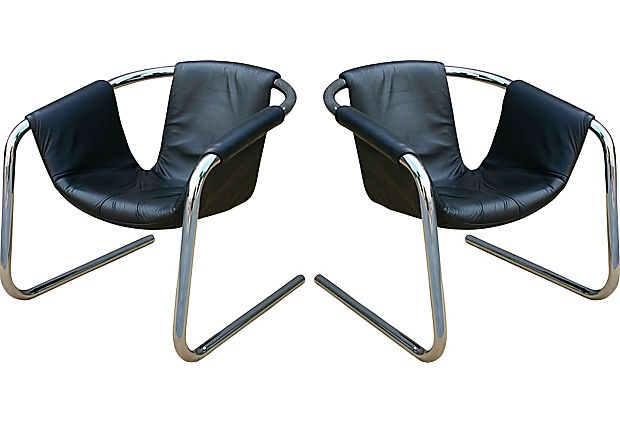 Cantilever Armchairs, Pair: