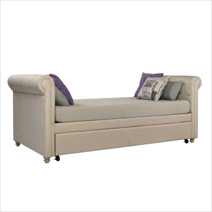Ameriwood Sophia Upholstered Twin Daybed with Trundle in Tan - 4032359