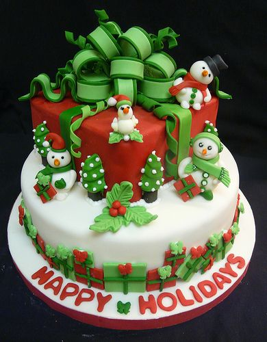 Happy Holidays cake by My_Edible_Art {The Cake Shop by Mila Fontana}, via Flickr