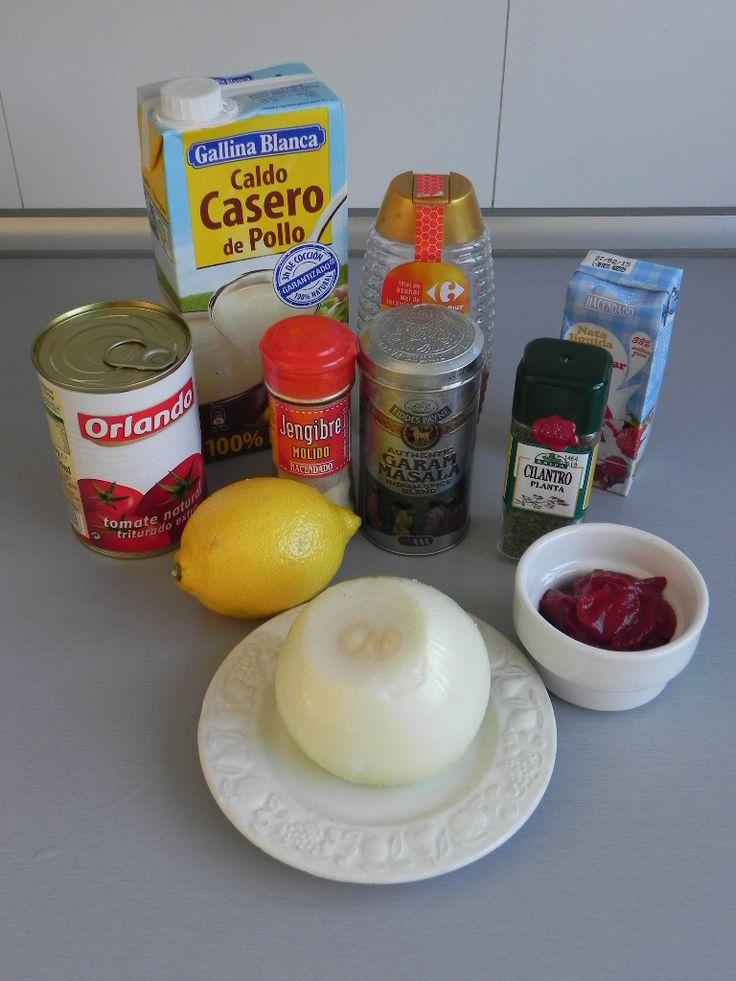 Ingredientes salsa pollo Garam Masala