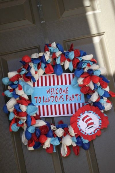 balloon wreaths, so easy, so adorable! This would so cute to make and hang during birthday months of the family, a way to celebrate that member all month long. Just change out the sign to personalize the wreath each birthday. :)
