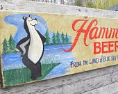 Hamms  Beer Sign,Vintage Sign, Vintage Wall Art,  Shabby Chic Wall Art, Hand Painted Sign,