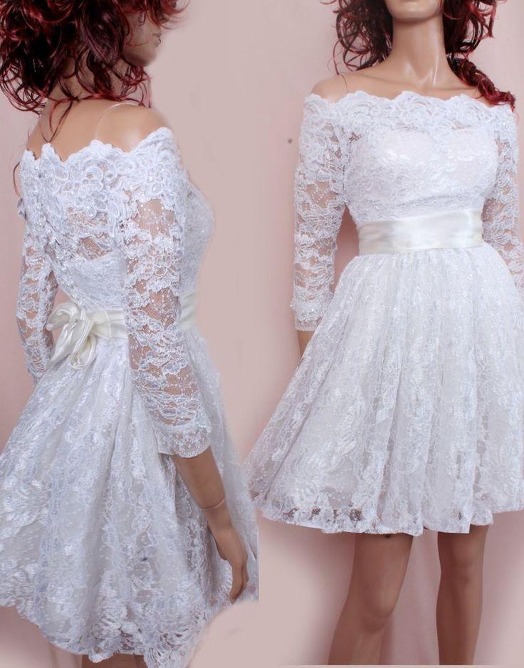 Short wedding lace dresses / Off-Shoulder Custom Made/ ,3/4 Sleeves Bridal Gown