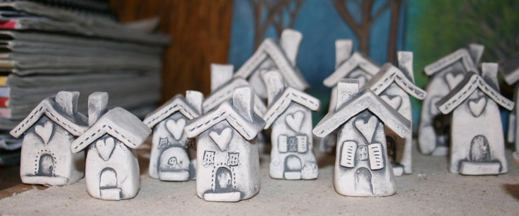 clay - these are like my 1st grade houses, though i think i like this finish better. yes.