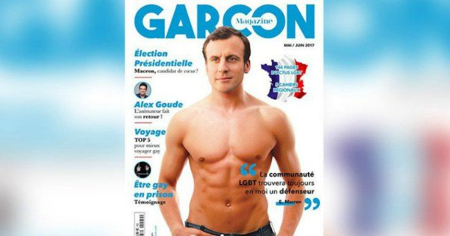 French presidential favourite Emmanuel Macron has appeared topless on the cover of a gay magazine.