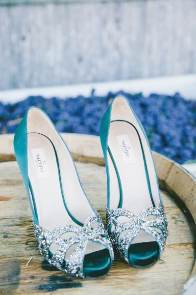 Turquoise and silver Valentino peep toe shoes - LOVE! #weddingshoes #shoes #turquoise #turquoisewedding #bridalaccessories