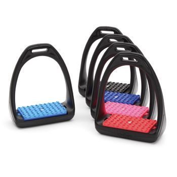 Reflex Stirrups With glass-fibre reinforcement, the swivel sole of the REFLEX stirrup is positioned on a shock-absorbent layer to relieve tension from knees and joints. The slender profile has been designed for quick foot release in an emergency. High resistance to shocks and damp, even at low temperatures. £22.50 Shires