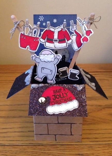 Santa's suit pop up card in a box, by Lynn Donnelly