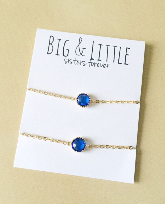 Big Little Sorority, Blue Bracelet Set, Sorority Gifts Dainty Jewelry