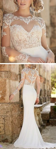 Lace Illusion Sheath Wedding Dress from the Martina Liana Collection #bridalGown