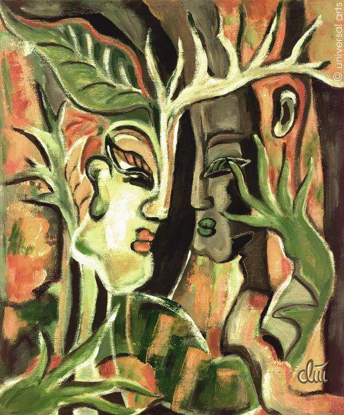 JACQUELINE DITT - Der Baum 1997 Gemälde Surreal Bild Kunst Surrealismus Bilder