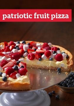 Patriotic Fruit Pizza -- Substitute with other fruits, such as grapes, oranges, banana and/or kiwi, for the strawberries, raspberries and blueberries.