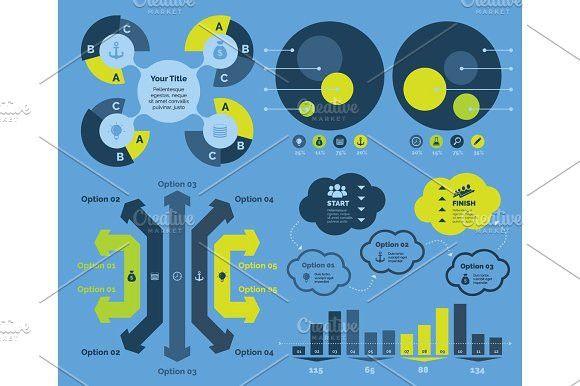 Five Workflow Diagrams Templates Set Info Graphic Design