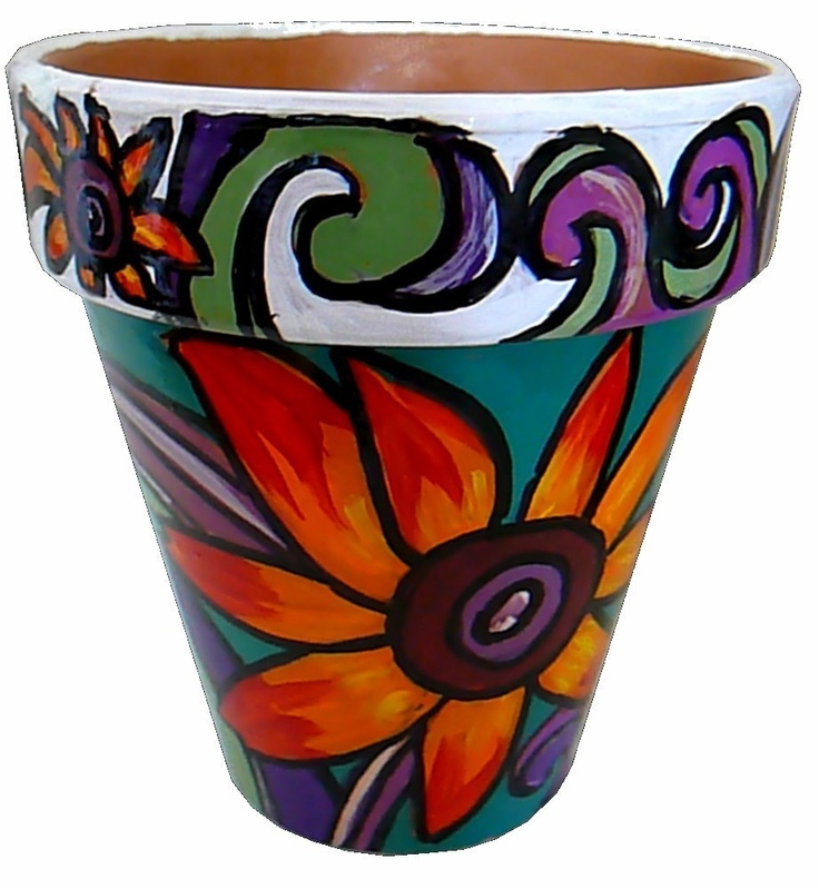 Bouquet of Sunflowers - 6 Original Hand Painted Terracotta Flower Pot. $23.00, via Etsy.