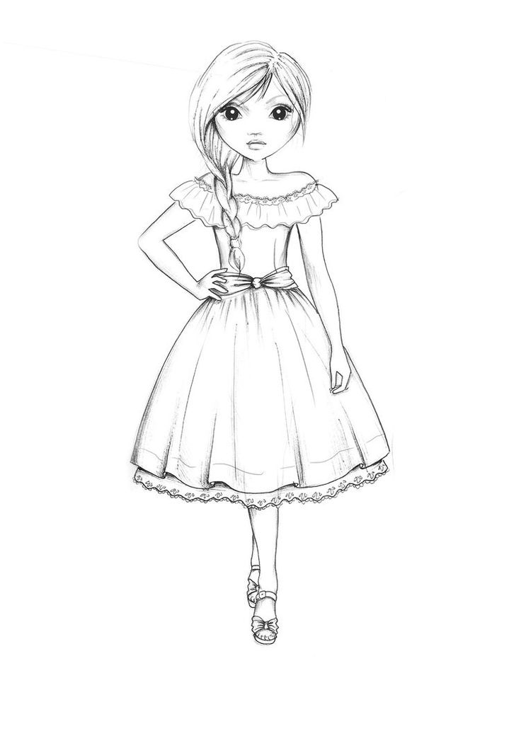 country style dress outline  model drawing fashion model