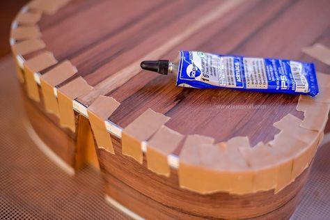 Construcción Guitarra Acústica 000-OM - A este proceso, en inglés se le llama binding, el cual se fija durante el secado de la cola con cinta especial para este fin, con gran poder adhesivo.