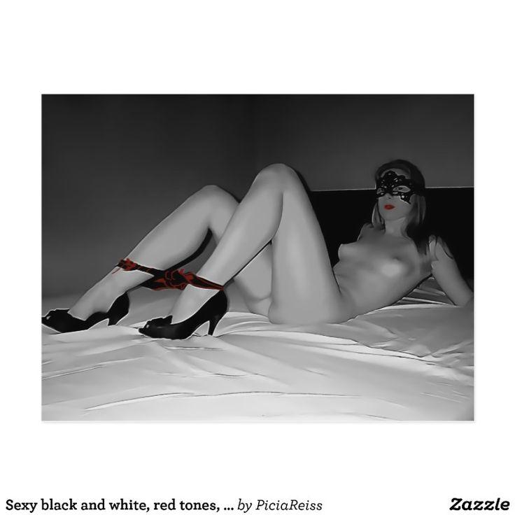 Sexy black and white, red tones, panties & heels 2 postcard