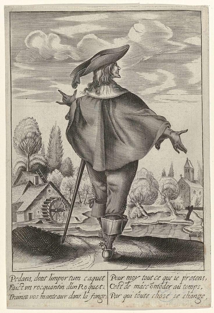 Isaac Briot | Man op de rug gezien, gekleed volgens de Franse mode ca. 1630, Isaac Briot, c. 1630 | Man op de rug gezien, staand voor een landschap met links een watermolen. Hij is gekleed in korte cape waarover een platte liggende kanten kraag. Kuitbroek, laarzen met canons en sporen. Op zijn hoofd een hoed met brede slappe rand en veer. Met 6 regels Frans onderschrift. Prent uit serie van 13 kostuumprentjes met titelpagina.